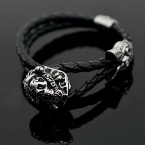 Skull Loved Charm Leather Braided Cuff-Bracelet 199