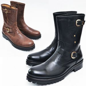 Buckled Strap Zip Biker Boots-Shoes 395