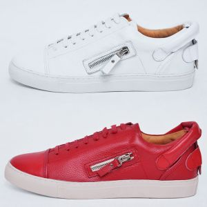 Back Handle Zippered Leather Sneakers-Shoes 398