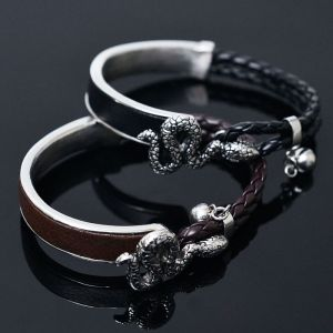 Braided Two Tone Rattlesnake Cuff-Bracelet 206