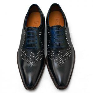 Blue Gradation Contrast Stud Oxford-Shoes 403