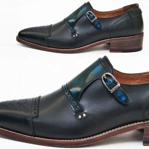 Blue Gradation Contrast Slim Monk Oxford-Shoes 406