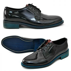 Contrast Sole Enamel Coating Oxford-Shoes 408