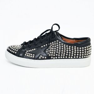 Circle Silver Stud Star Leather Sneakers-Shoes 412