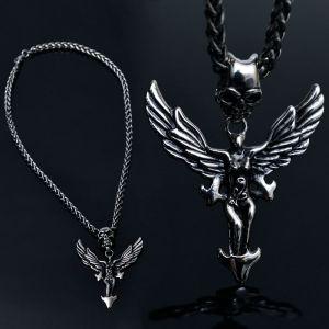 Stainless Steel Short Skull Angel-Necklace 196