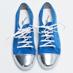 Silver Toe Suede Custom Aqua Sneakers-Shoes 422