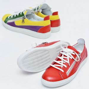 Vibrant Double Zip Leather Sneakers-Shoes 423