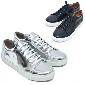 Metal Silver & Black Leather Sneakers-Shoes 427