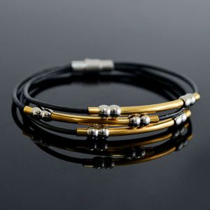 Triple Coil Lux Gold Charm Leather Cuff-Bracelet 214