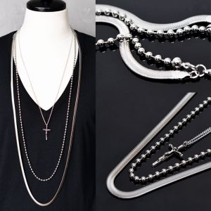 Dark Edge Long 3pc Silver Chain Cross-Necklace 199