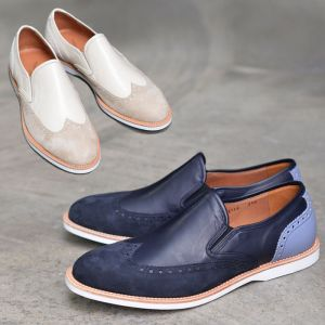 Suede Wingtip Contrast Loafer-Shoes 458