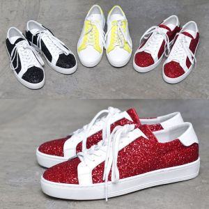 Crystal Encrusted Leather Sneakers-Shoes 459