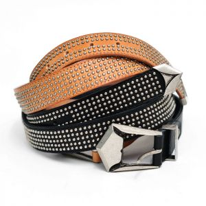 Multi Mini Silver Studs Designer Leather-Belt 132