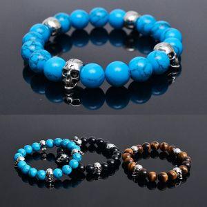 Silver Skull Charm Onix Beads-Bracelet 227