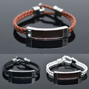 Square Metal Bar Braided Leather Cuff-Bracelet 234