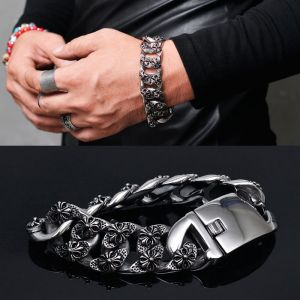 Tough-edge Steel Flower Chain Cuff-Bracelet 247