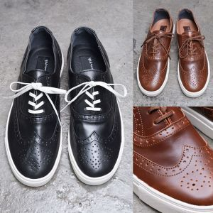 Wingtip Laceup Leather Sneakers-Shoes 478