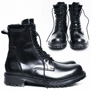 13 Hole High Runway Zip Combat Boots-Shoes 479