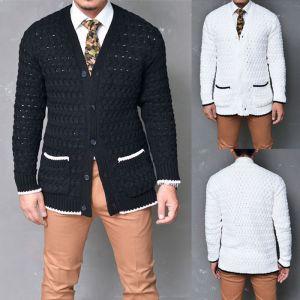 Sleek & Modern Contrast Cable Jacket-Cardigan 126