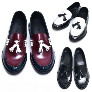 Contrast Leather Custom Tassel Loafer-Shoes 483