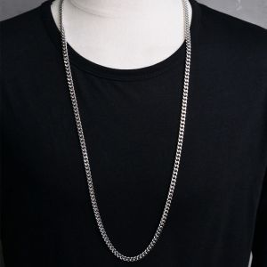Long Silver Metal Chain-Necklace 238