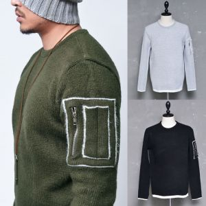Contrast Pocket Thick Wool Sweater-Knit 143