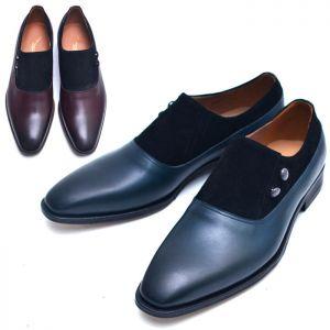 Suede Contrast Buttoned Dress Slipon-Shoes 499