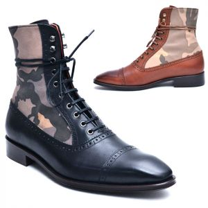 Camouflage Contrast Military Ankle Boots-Shoes 500