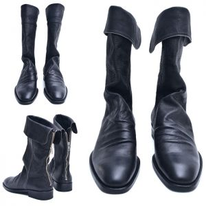 Turn-up Long Crinkle Biker Boots-Shoes 502