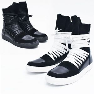 Super Long Lace Back-zip Leather High-Shoes 503