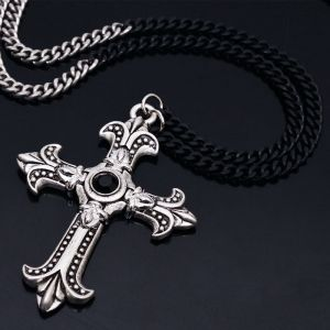 Contrast Chain Big Gothic Silver Cross-Necklace 240