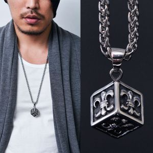Engraved Cube Charm 100% Steel-Necklace 245