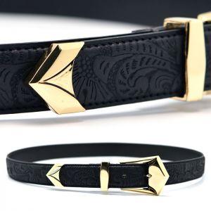 Engraved Designer Gold Volume Leather Belt-Belt 140
