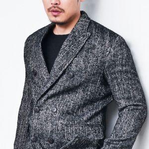 Wool Herringbone Tweed Double-Coat 100