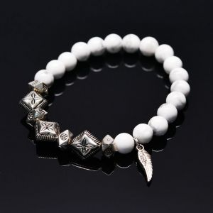 Angel Wing Hawlite Gemstone Beads-Bracelet 278