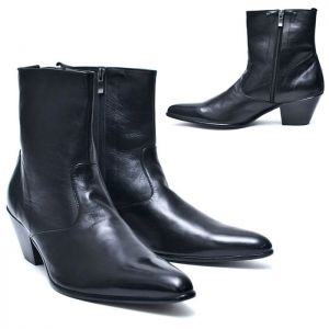 7cm Heel Pointy Zip Ankle Boots-Shoes 509