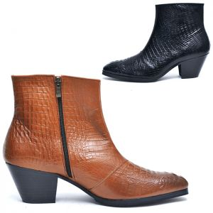 7cm Heel Crocodile Leather Ankle Boots-Shoes 511