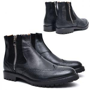 Full Grain Wingtip Zip Ankle-Shoes 512