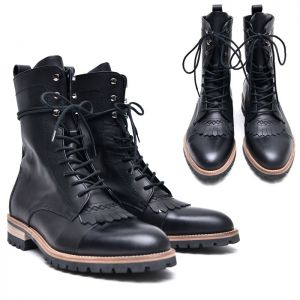 Calf Urban High Combat Laceup Boots-Shoes 517