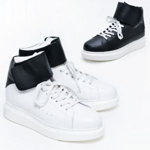 Chubby Leather Strap High Top-Shoes 525