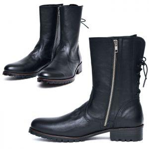 Back Lace Side Zip Designer Biker Boots-Shoes 529