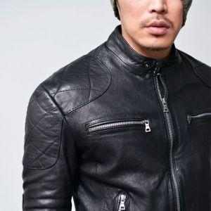 Quilting Shoulder Zippered Lambskin Biker-Leather 105