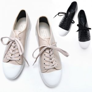 Contrast Toe Leather Sneakers-Shoes 537
