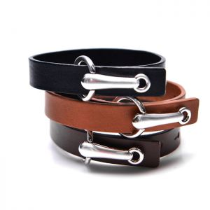 Unique Bridle Buckle Leather Cuff-Bracelet 306