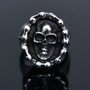 Stainless Steel Chain Skull Ring-Ring 53