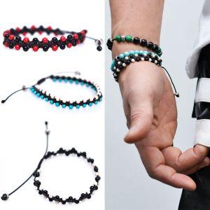 Dual Gemstone Beads Tie Up-Bracelet 314
