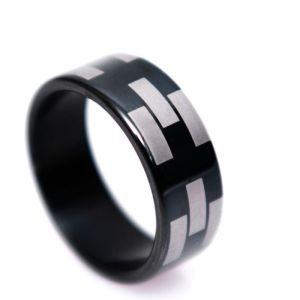 Silver Bricks Black Ring-Ring 60