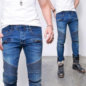 Edge Quilting Seaming Slim Biker-Jeans 290