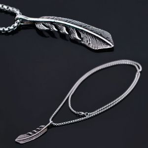 Full Stainless Steel Leaf Charm Chain-Necklace 271