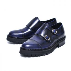 Fashionable Blue Gradation Double Monk-Shoes 550
